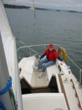 Steph at helm of Catalina 25