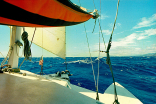 Into Weather Heading To Molokai Then Lanai Holding Steady At 9kts! Flying The Jib And Mizzen!