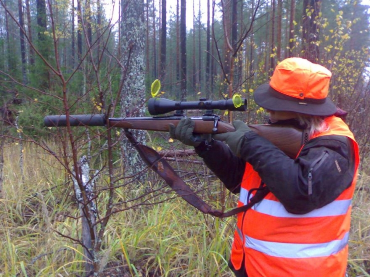 Lady Hunter... Silencers Are Legal Here...