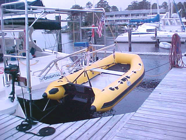 New Yellow Dnghy in New Davits