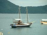 Escuna at anchor Saco da Ribeira, Costa Verde, Brazil