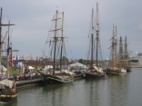 Along Fox River in Green Bay, WI Tall ships visit