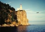 F-4 Phantom flying past Split Rock Lighthouse Lake Superior