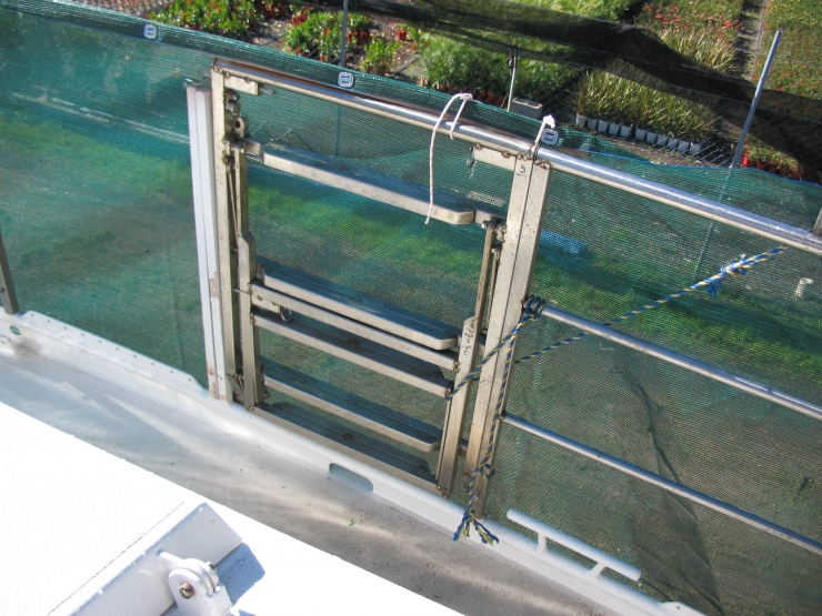 Permanent 3 Stage Fold Down Stainless Ladder