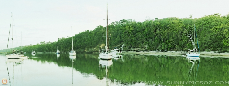 Garrie's Anchorage Panorama.  -  Dawn 27.12.2011