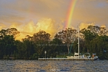Dawn Rainbow At Jetty . Original Exclusive Photo Art.