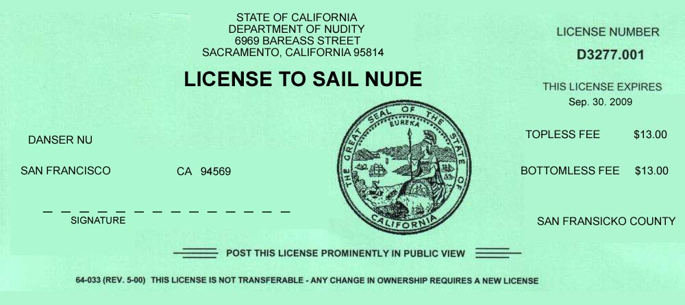 Nude Sailing License