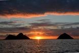 The Mokulua Islands At Sunrise, Lanikai Beach, Oahu