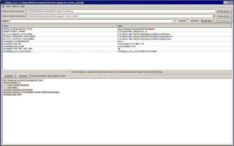 Click image for larger version  Name:CMake-GUI-Survey.png Views:70 Size:63.5 KB ID:111941