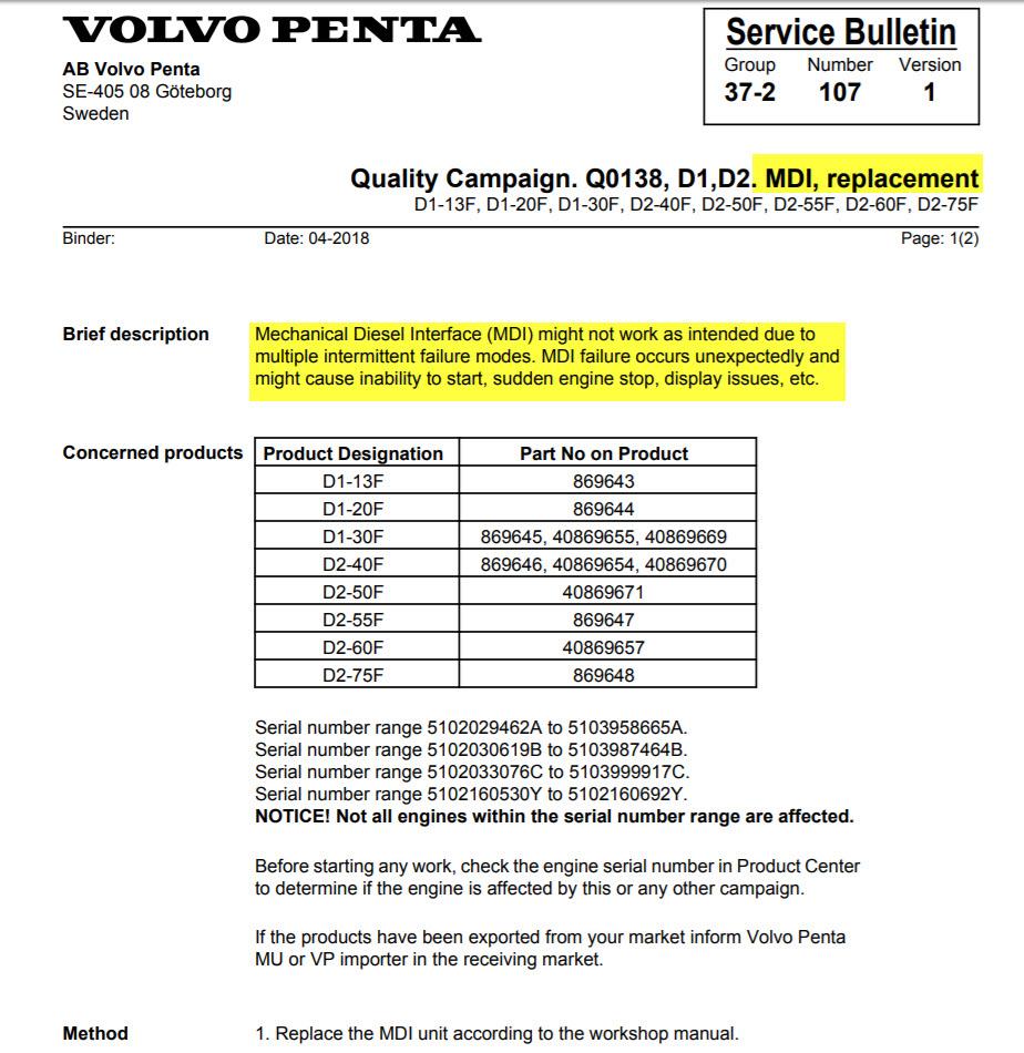 General Info Volvo Penta MDI Black Box RECALL - Cruisers