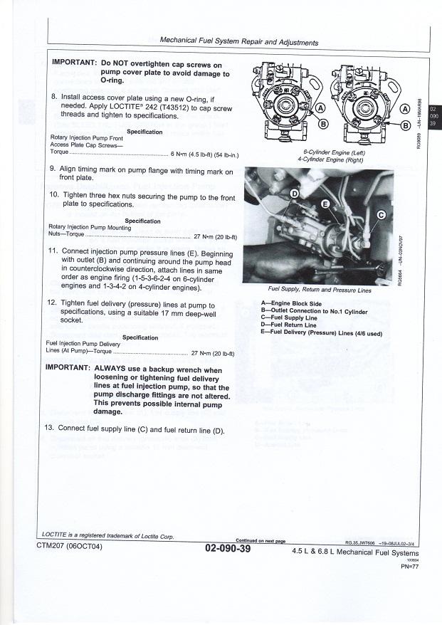 DUD John Deere Injector Pump Stuck on Engine - Help