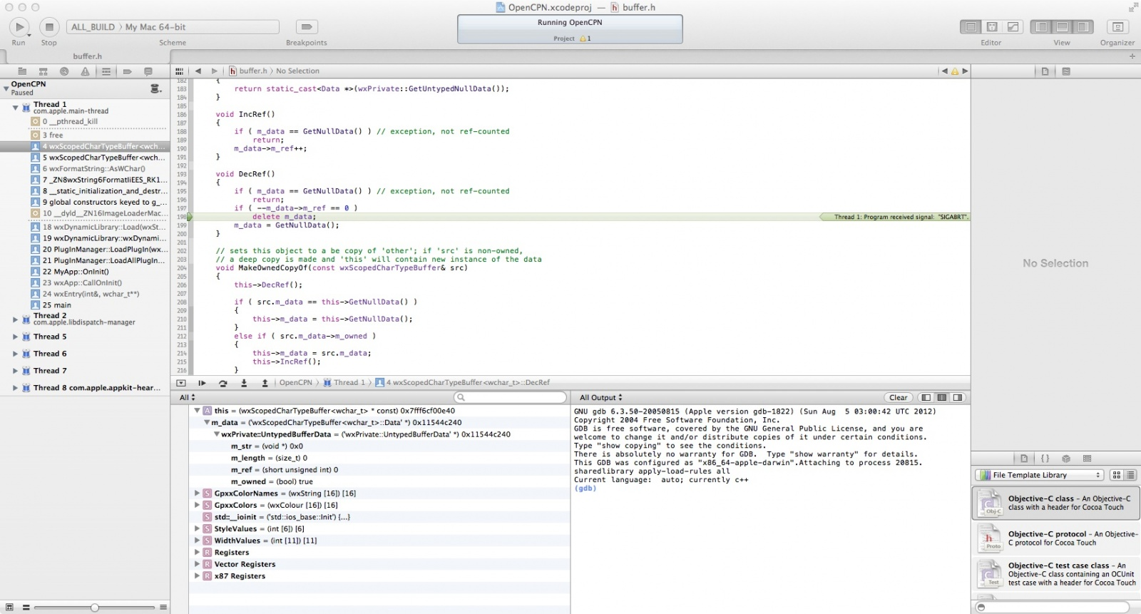 Click image for larger version  Name:OpenCPN Xcode debug window.jpg Views:62 Size:313.4 KB ID:50879