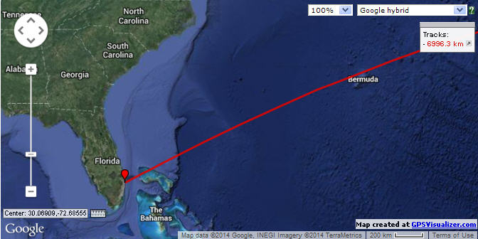 Click image for larger version  Name:Great circle from Florida to  Almerimar Spain2.jpg Views:179 Size:43.3 KB ID:76450