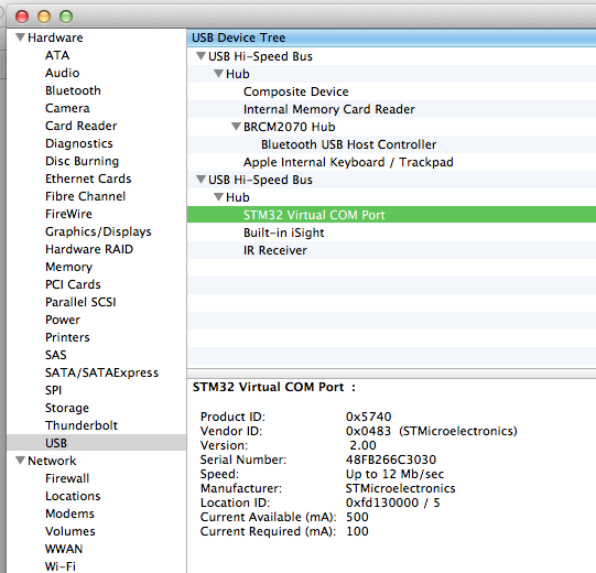 OpenCPN does not see STM32 virtual port in MAC OSX - Cruisers