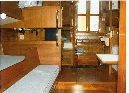 Click image for larger version  Name:Looking Aft from V Berth. On the left is a Sea Berth and a pull out berth, the back of the Nav S.jpg Views:285 Size:484.2 KB ID:8587
