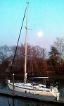 sailboat at moon rise