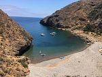 Fry's Harbor, or Fry's Anchorage, Santa Cruz Island. The three boats are in about the best location but there is room for one more next to wall on...