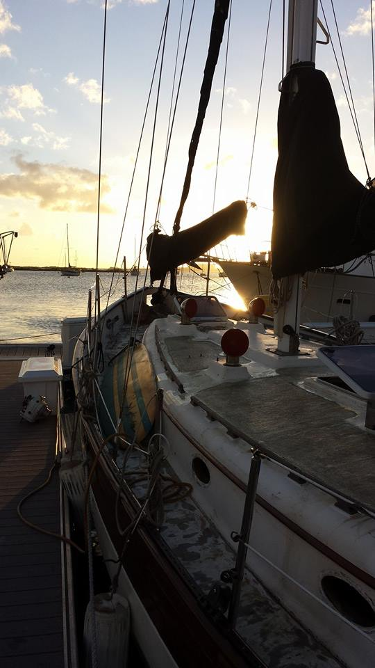 s/v Amore at dock, part way through never ending deck refurbishment, although new Lewmar Ocean Series hatches are installed now!