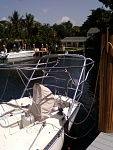 Frame fit for pad angles, not shown wind generator mast strutted to davits.