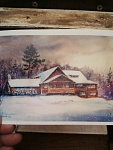 The lodge at Agawa, A watercolor Christmas card painted by My Dad, who built it.