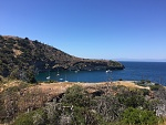Pelican Harbor. Good holding ground but relatively deep compared to other local anchorages (30-40') North side of Santa Cruz Island. In the distance...