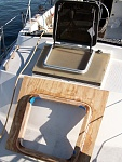 New Bomar aft hatch to replace dull plexiglass and wood original. The new marine grade plywood hatch combing is preassembled and ready for...