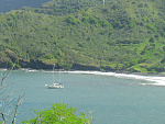 Gryphon anchored in a remote bay in the Marquesas.