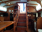 Gryphon salon stairs to companionway and galley.