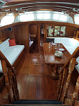 Looking down the companionway into the Salon of Gryphon.