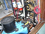 Donaldson air filter.  Above Donaldson is fuel polishing filter housing. Fuel manifold, at right. Polish & burn are separate circuits.  Small gauge...