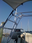 Rear arch installed with mounts for solar, wind and dinghy davits.